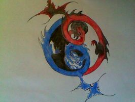 the ying yang dragons by Wolf-Angel-whitewing