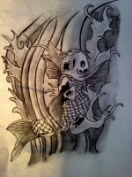 Koi Fish Drawing by synbriscoe