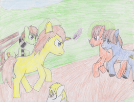 MLP - Fight at the Bus Stop by Im-Albert-Wesker