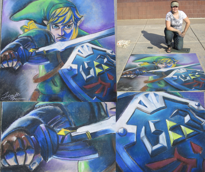Skyward Sword Link - Chalk Art by sugarpoultry