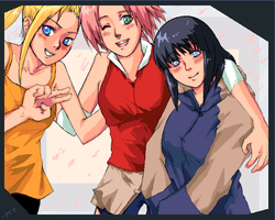 Naruto girls oekaki by birdbox