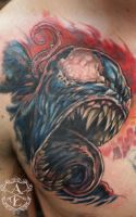 Venom from Spider-Man Chest Tattoo done by Sean by seanspoison