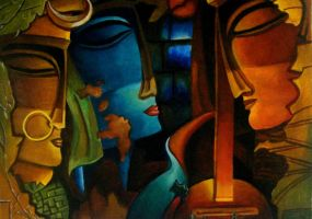 abstract radha,krishna and meera by capricorn-kid