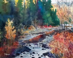 Autumn watercolor by Takir