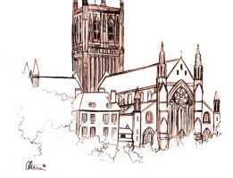 Worcester Cathedral Sketch by princessmoony