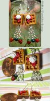 Polymer Clay Waffle and Fruits Chain Earrings by Talty