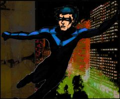 Nightwing sketch colored by KrisOwrey