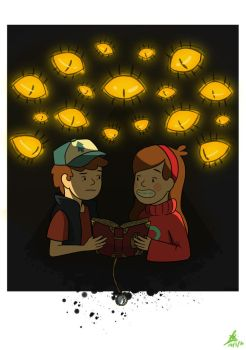 Dipper and Mabel feat. Bill (Gravity Falls) by Turquoise-luck