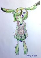 Green gory bunny by jell-o-cat