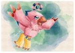 Biyomon in Digital Watercolors by Acaris