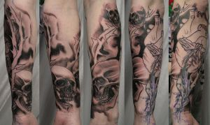 1 Session Skull Heart Sleeve by 2Face-Tattoo