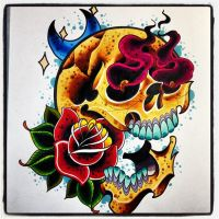 skull rose fire moony by jerrrroen