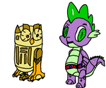R2-wishes and Spike 3PO by Dragonwolf6000