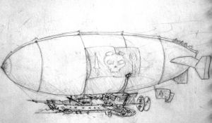 Steampunk Airship Sketch by zombie2012
