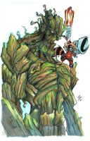 Groot and Rocket Raccoon by colepetersonart
