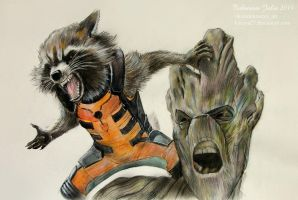 Groot and Rocket. Guardians of the Galaxy by Knesya27