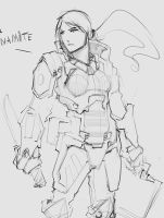 Scifi character sketch 2 by p00se2