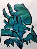 Alien acrylic paint version by munna-chan78