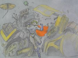 Power Girl busts a dozer by svettzwo