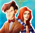 The Doctor and Amy by aerettberg