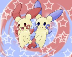 Plusle X Minun by TwilightWish
