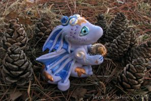Alei the Dragon and pine cones by kaikaku