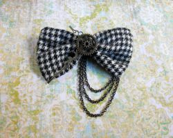 Sold Out: Steampunk Houndstooth Hair Bow by random-wish