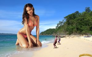 Giantess Ariel Meredith at the beach by lowerrider