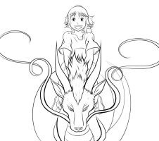 Spirited Away WIP: Chihiro and Haku by Smudgeandfrank