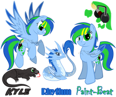 MLP OC: Paint-Beat, Rhythm, and Kyle by lizzytheviking