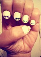 Mustache Nails by ac2377