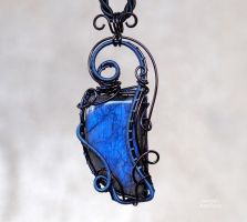 Blue Labradorite wire wrapped pendant by IanirasArtifacts