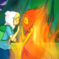 Finn and Flame Princess by Doodle-Sprinkles