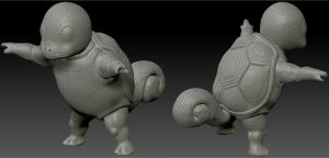 Semi-realistic Squirtle WIP by Dionicio