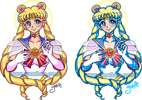 Sailor Moon Tattoo: 2 versions by Yamino