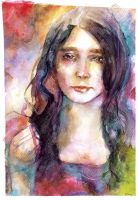Watercolor - Unprepared woman by Planetekrilin