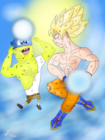Goku Vs SpongeBob by DarkraDx