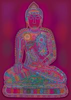 Red Rainbow Buddha by leavingsosoon