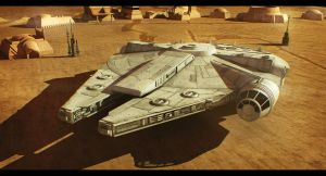 Star Wars Corellian ship on Tatooine 3D Commission by AdamKop