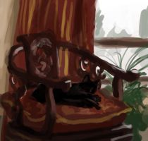 Color Sketch - Cat and Chair by ElizaWyatt
