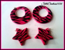 zebra black/pink pendants-polymer clay by gothicstella
