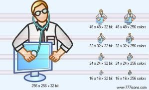 Computer doctor Icon by security-icon-set