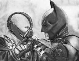 Batman and Bane by asemharun