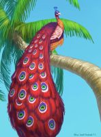 Peacock in a Palmtree by joelhustak