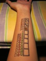 Faux Minecraft HUD Tattoo by Raechi-Cherie