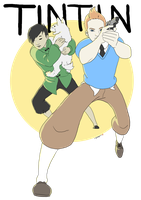 Tintin and Tchang by IceFennek