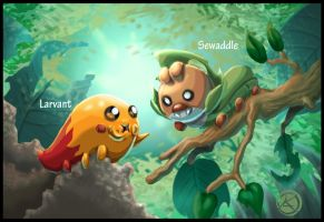 Larvant meets Sewaddle by TheCreationist