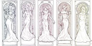 Princess Mucha-esque Lineart by Ricochet-X