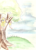 Fluttershy in a tree by the-Rose-of-Blue