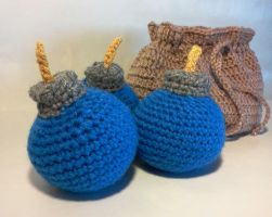 Zelda inspired 3 blue bombs and a bomb bag by ZombieVoltaire